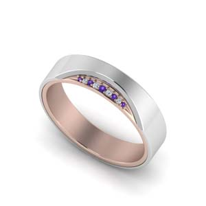 14K White Gold Purple Topaz Band