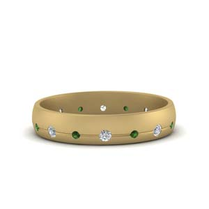 18K Gold Emerald Wedding Band