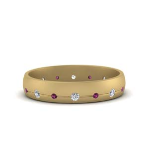 Flush Set Pink Sapphire Men Band