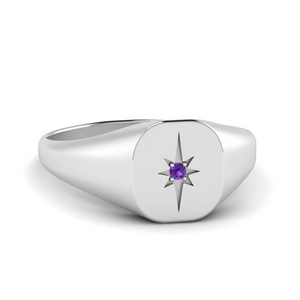 Starburst Signet Ring With Purple Topaz