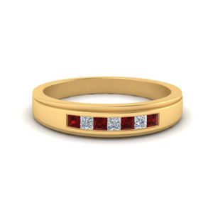 7 Stone Mens Ring With Ruby