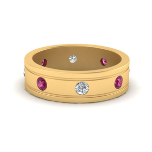 Pink Sapphire Mens Eternity Band