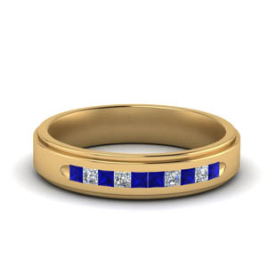 Channel Set Sapphire Mens Band
