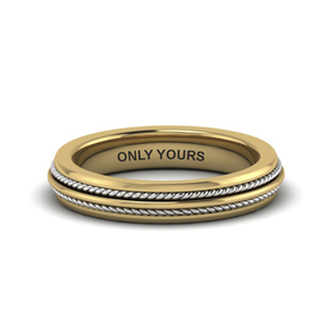 double rope 2 tone promise band in 14K yellow gold FDM653069B NL YG EG