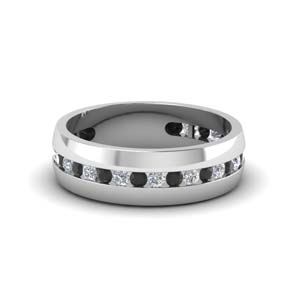 mens channel wedding band with black diamond in FDM8040BGBLACK NL WG