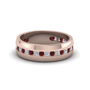mens diamond channel wedding band with ruby in FDM8040BGRUDR NL RG