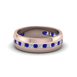 mens diamond channel wedding band with sapphire in FDM8040BGSABL NL RG