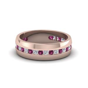 mens diamond channel wedding band with pink sapphire in FDM8040BGSADRPI NL RG