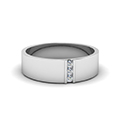 3 stone diamond wedding anniversary band for men in 14K white gold FDM8111B NL WG