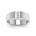 3 stone diamond wedding anniversary band for men in 14K white gold FDM8111BANGLE5 NL WG