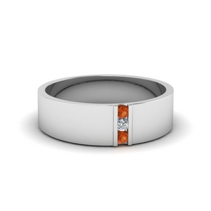 3 stone diamond wedding anniversary band for men with orange sapphire in 950 Platinum FDM8111BGSAOR NL WG