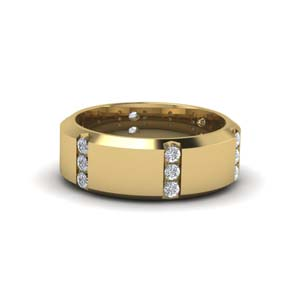 Channel Set 3 Stone Mens Ring