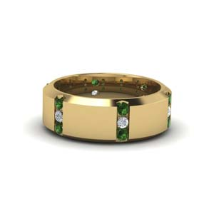 channel set 3 stone diamond mens anniversary ring with emerald in 18K yellow gold FDM8113BGEMGR NL YG