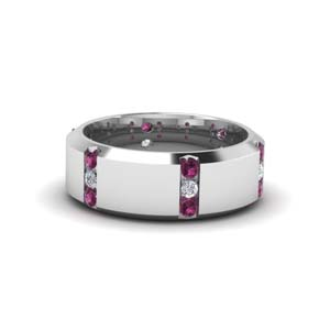 Mens Wedding Band Pink Sapphire