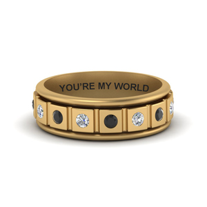 Gold Engraved Mens Band