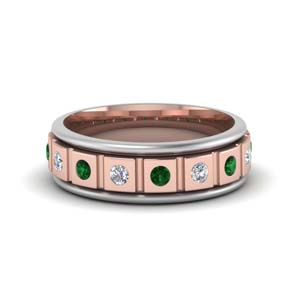2 Tone Mens Emerald Band