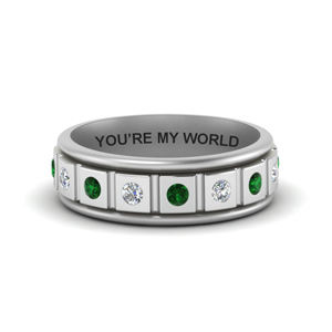 Bezel Diamond With Emerald Men Ring