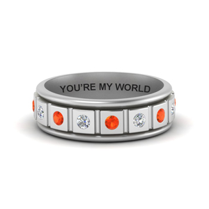 Engraved Mens Band With Orange Topaz