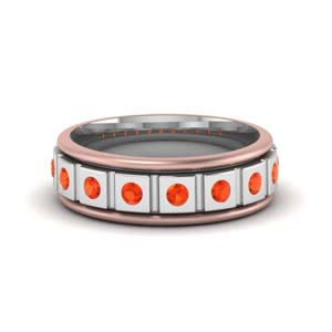 Orange Topaz 2 Tone Mens Band