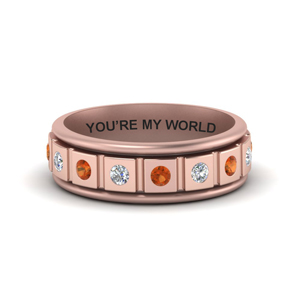 Orange Sapphire Band With Name