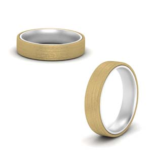 Brushed 2 Tone Mens Wedding Ring