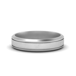 Beveled Inlay Mens Wedding Ring