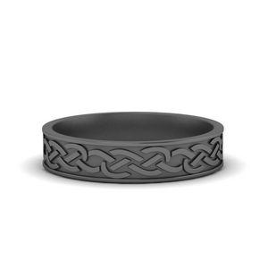 Mens Black Gold Wedding Band