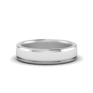 14K White Gold Male Wedding Band