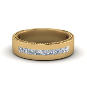 Flat Channel Diamond Mens Band