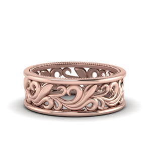 14K Rose Gold Filigree Mens Wedding Band