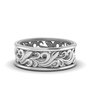 18K White Gold Antique Vintage Mens Band