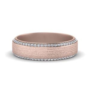 brushed pave diamond mens wedding band in FDDB1040B NL RG