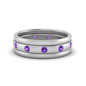 Trio Stack Purple Topaz Wedding Band