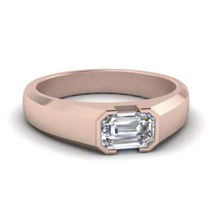 Half Bezel Emerald Cut Mens Ring
