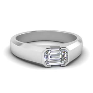 Bezel Emerald Cut Mens Ring