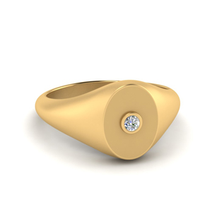 Gold Oval Signet Center Studded Band