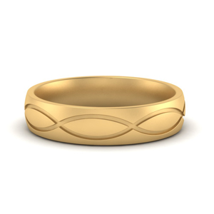 Infinity Grooved Mens Gold Ring