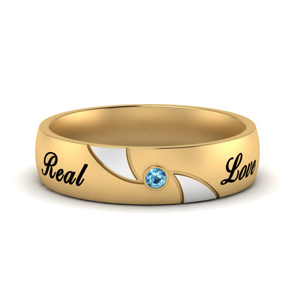 Blue Topaz 2 Tone Engraved Band