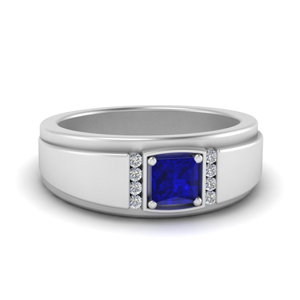 Princess Cut Sapphire Male Ring