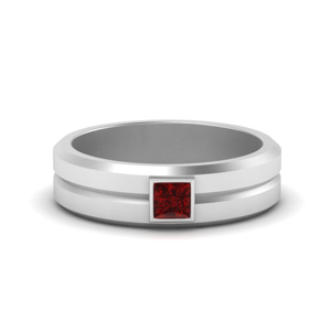 Mens Princess Cut Ruby Ring