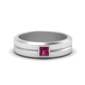 0.25-carat-pink-sapphire-mens-wedding-rings-solitaire-princess-cut-in-FDM9861PRGSADRPI-NL-WG