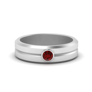 Ruby Solitaire Rings For Men
