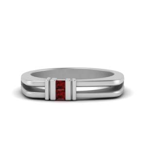 square comfort fit 2 stone ruby band in 14K white gold FDMR1010GRUDR NL WG