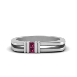square comfort fit 2 stone pink sapphire band in 14K white gold FDMR1010GSADRPI NL WG