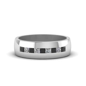 channel set princess cut band for men with black diamond in 14K white gold FDMR1097GBLACK NL WG
