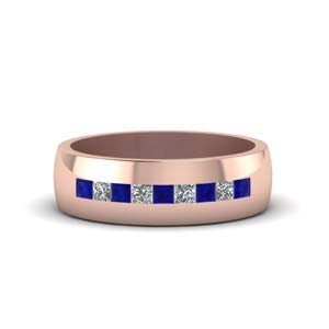channel set princess cut diamond band for men with blue sapphire in 18K rose gold FDMR1097GSABL NL RG