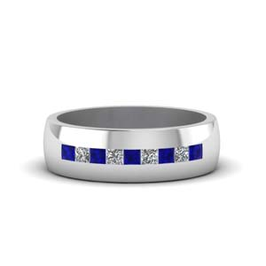 channel set princess cut diamond band for men with blue sapphire in 14K white gold FDMR1097GSABL NL WG