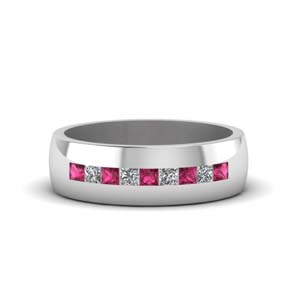 channel set princess cut diamond band for men with pink sapphire in 14K white gold FDMR1097GSADRPI NL WG