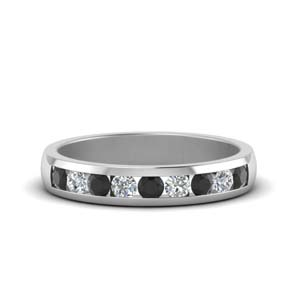 channel wedding band with black diamond in 14K white gold FDMR1098GBLACK NL WG