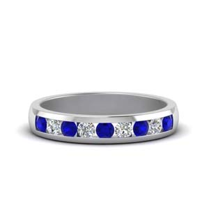 channel diamond wedding band with sapphire in 14K white gold FDMR1098GSABL NL WG